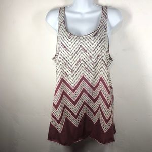 Maurices maroon and pink chevron tank size large